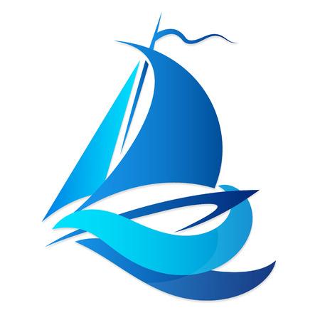 voilier ancien: yacht sur le bleu des vagues silhouette Illustration