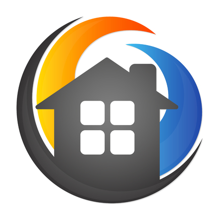 warm house: Heating and cooling house, air conditioning symbol Illustration