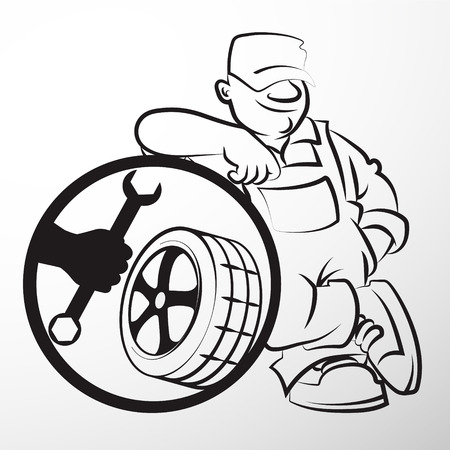tire service: The repairman with tire silhouette Business