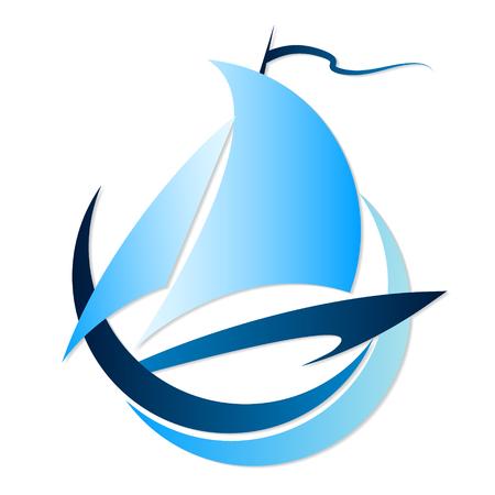 barche: Barca sagoma sul onde vettore