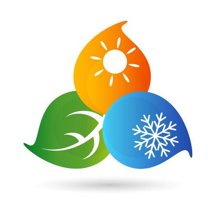estado del tiempo: Aire acondicionado símbolo del medio ambiente para el vector Vectores