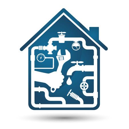 Loodgieterswerk reparatie van het huis, een symbool van het bedrijfsleven Stock Illustratie