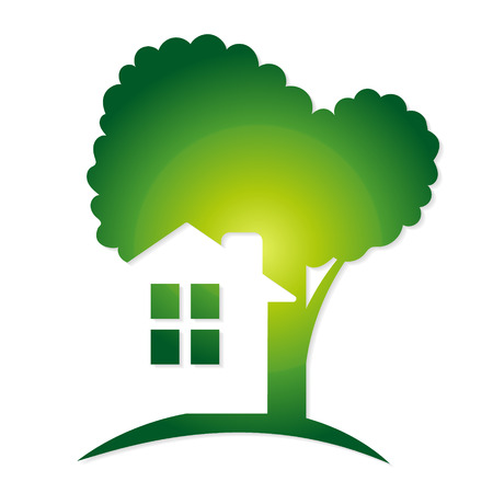 Green tree and a house symbol vector