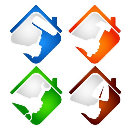 Huisreparatie symbool voor het bedrijfsleven
