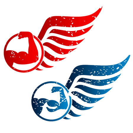 gym: The symbol for gym, hand and wings Illustration