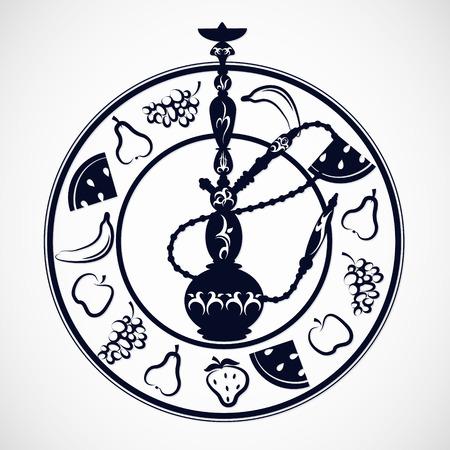 shisha: Hookah silhouette for vector, different fruits Illustration