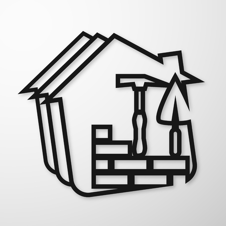 house building: Building symbol for business, bricklaying and trowel Illustration