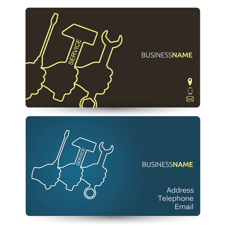 Repair business card, a tool in the hand Illustration