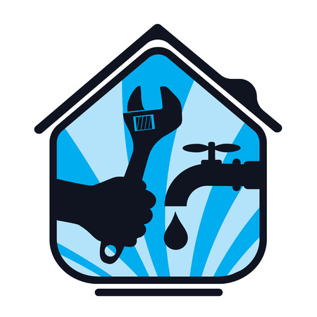 houses on water: Plumbing repair the house, a symbol of business Illustration