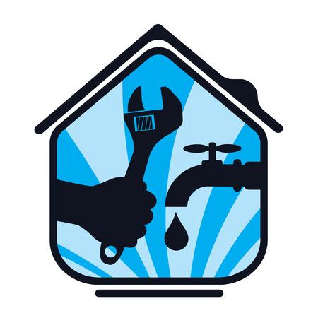 agua grifo: Reparación de fontanería de la casa, un símbolo de los negocios Vectores