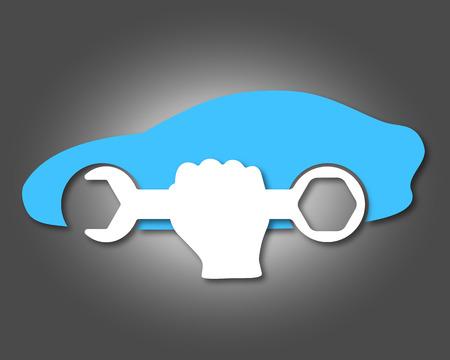 mecanico automotriz: diseño para la reparación de automóviles, símbolo para los negocios Vectores