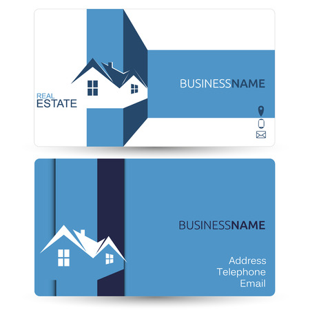 visiting card: Business card for real estate sales, mock vector Illustration