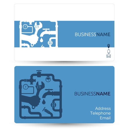 plumbing tools: Business card for repair plumbing or running water Illustration