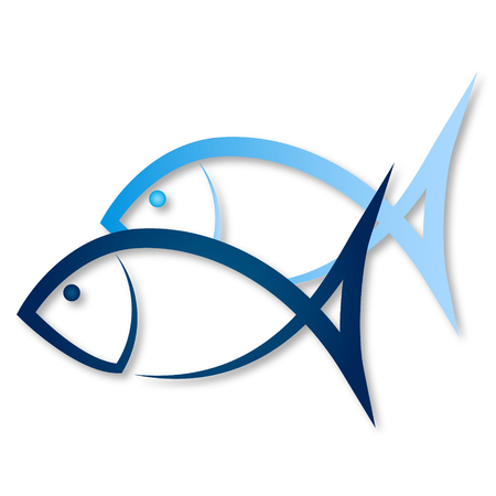 blue fish: Two blue fish