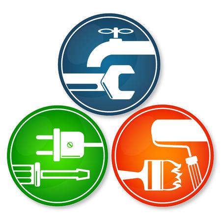 renovations: Set of symbols for home renovation repair tool
