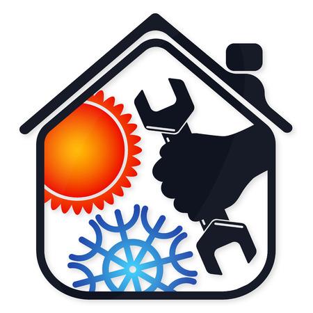 Reparatie air conditioner voor het huis, symbool zaken