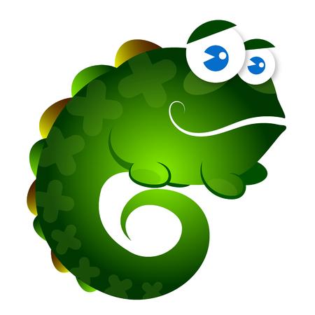 saurian: Little green lizard funny for children