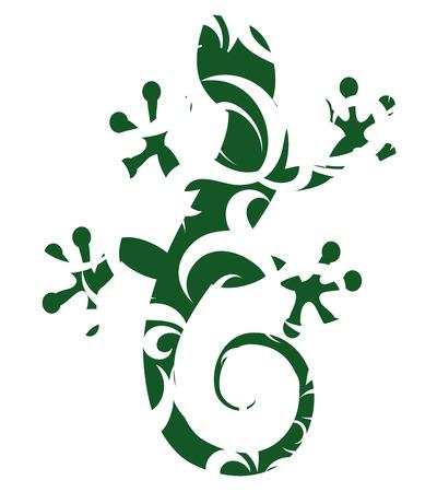 salamandra: Silueta de lagarto con un patrón de flores
