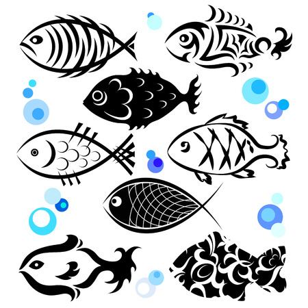 aquaculture: fish in a different style for the vector