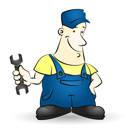 repairman: Repairman with a wrench in his hand illustration Illustration