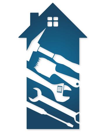 Inicio herramientas de reparación, un símbolo de los negocios Foto de archivo - 51060725