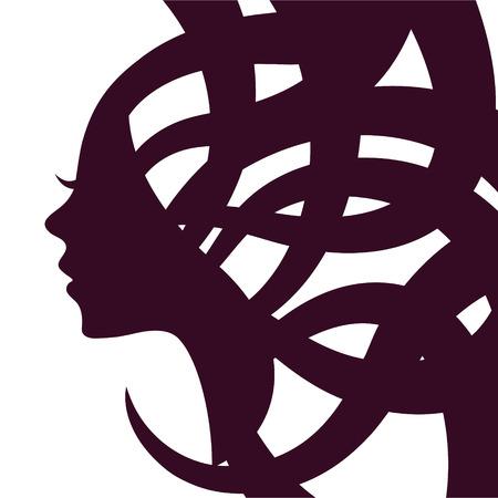 femme dessin: Silhouette d'une jeune fille aux cheveux
