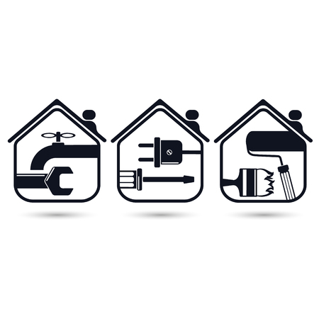 Symbols for home renovation, repair tools