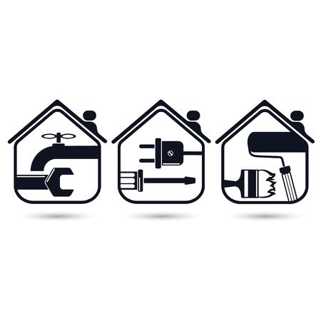 home renovation: Symbols for home renovation, repair tools
