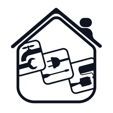Symbol for the repair of houses silhouette