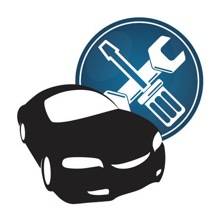 overhaul: Car repair icon with a screwdriver and wrench