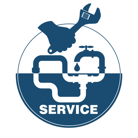 upkeep: plumbing service business symbol, wrench in hand