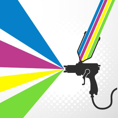 paint gun: Airbrush or spray gun with paint vector Illustration