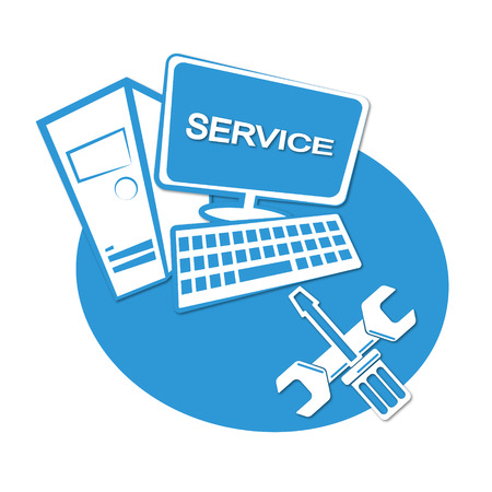Computer repair business emblem for vector Çizim