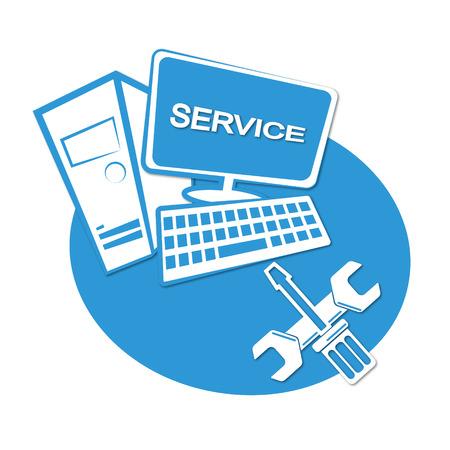 Computer repair business emblem for vector Vettoriali