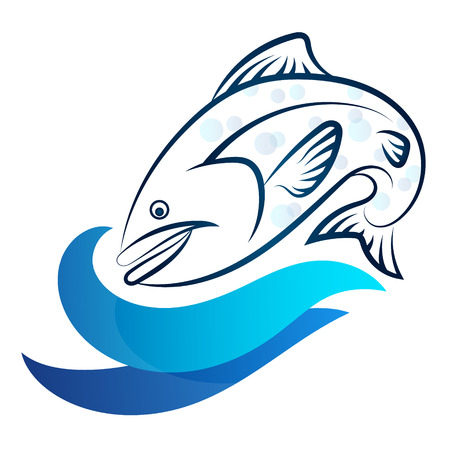 blue fish: Fish and blue wave silhouette Illustration