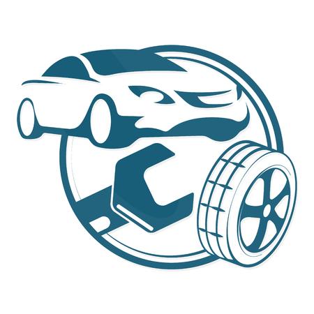 car business: Car repair and tires symbol for business