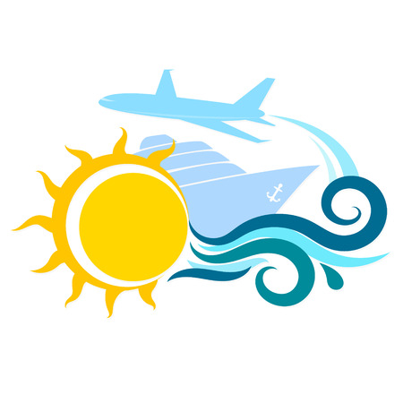 airplane travel: Sun and water waves, ship and airplane travel