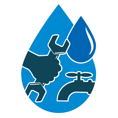 plumbing repair: Repair plumbing and water supply systems, and a drop of hand with a wrench