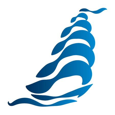 regatta: Yacht on the waves vector flat Illustration
