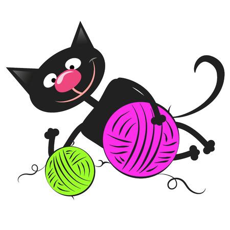 gomitoli di lana: Black cat with colorful balls of wool
