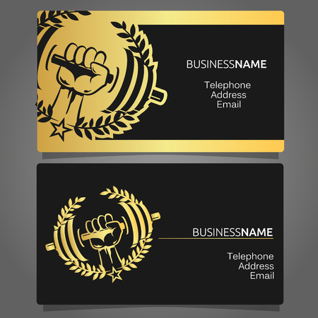 trainers: Business card for a gym, dumbbell in hand