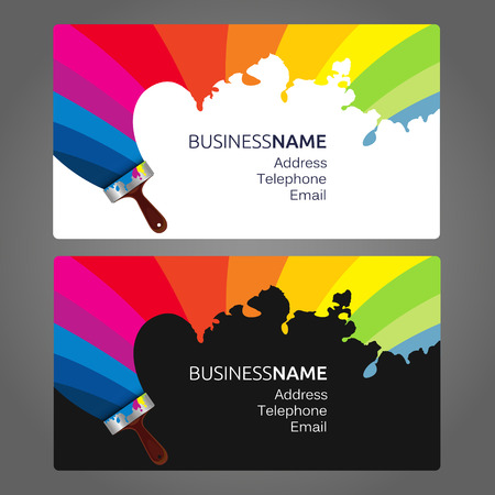 brush painting: Business card vector painting with a brush