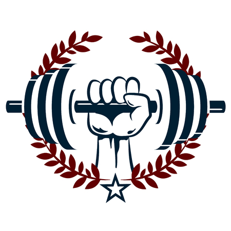 hand with dumbbell: Dumbbell in hand flat, the emblem for the gym Illustration
