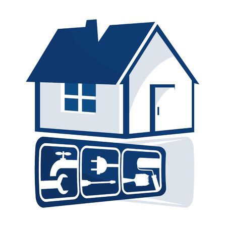 blue roof: Repair of home sign for business, repair tool