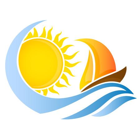 barche: Yacht in onda e il sole per il vettore