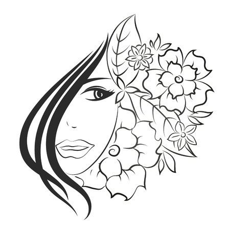 woman smiling: The face of a beautiful girl and flowers silhouette