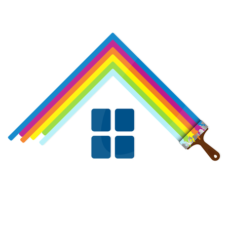 home painting: Painting home sign for business, brush with paint Illustration