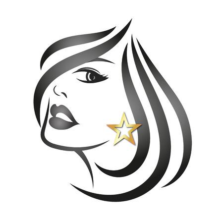 woman hair: Profile face of beautiful girl silhouette