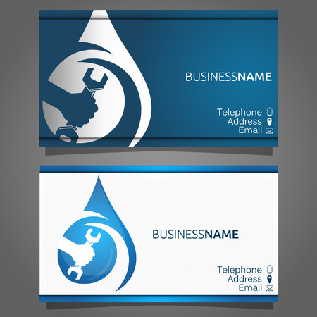 Business card for the repair of water supply and sanitary ware, wrench in hand