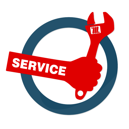 repairs: Sign vector repair business, spanner in hand Illustration
